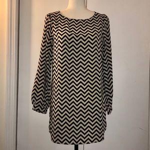 Every Zigzag Tan & Black Mini Long Sleeve Dress